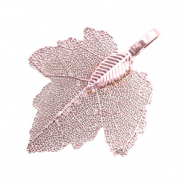 Charm with 1 loop metal leaf Antique Pink (nickel free)