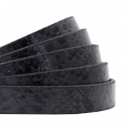 10 mm flat faux leather Snake Black