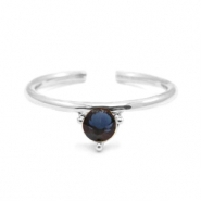 Must-have rings one stone Silver-Dark Blue (nickel free)