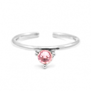 Must-have rings one stone Silver-Pink(nickel free)