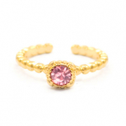 Must-have rings dots with one stone Gold-Pink (nickel free)