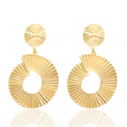 Trendy earrings 40mm round Gold (nickel free)