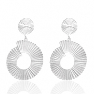 Trendy earrings 40mm round Silver (nickel free)