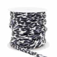Stitched elastic ribbon leopard Grey-Black
