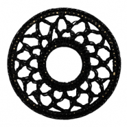 Crochet pendants round 54mm Black