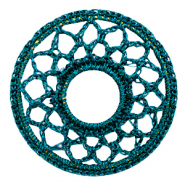 Crochet pendants round 54mm Petrol Blue