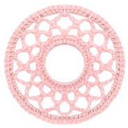 Crochet pendants round 54mm Salmon Rose Pink