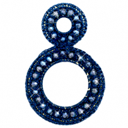 Crochet pendants with faceted beads Denim Blue