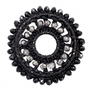 Crochet pendants round 44mm with faceted beads Black