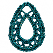 Crochet pendants drop Petrol Blue