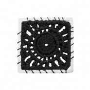 Crochet pendants square Silver-Black