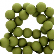 4 mm acrylic beads matt Oil Green
