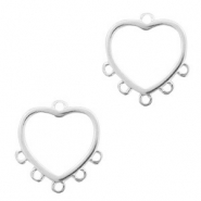DQ European metal charms connector heart with 5 loops Antique Silver (nickel free)