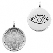 DQ European metal charms eye round 20mm Antique Silver (nickel free)