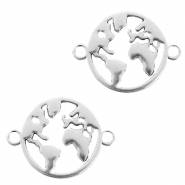 DQ European metal charms connector earth round 20mm Antique Silver (nickel free)
