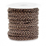 Benefit package Flat braided 5 mm DQ leather Vintage Taupe Brown