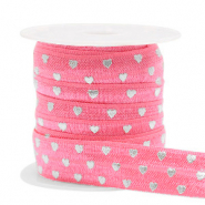 Elastic ribbon heart Rouge Pink-Silver