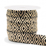 Elastic ribbon Art Deco Black-Gold