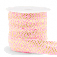 Elastic ribbon Art Deco Vintage Pink-Gold