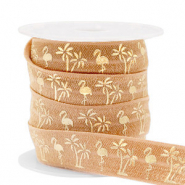Elastic ribbon flamingo/palmtree Camel Brown-Gold