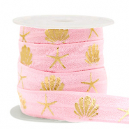 Elastic ribbon shell/sea star Vintage Pink-Gold