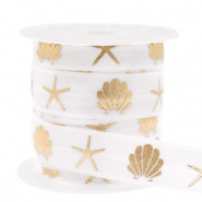 Elastic ribbon shell/sea star White-Gold