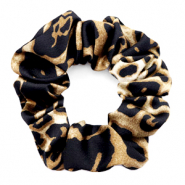 Scrunchie leopard print hair tie Black-Brown