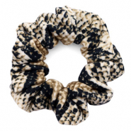 Scrunchie snake print hair tie Cream-Black