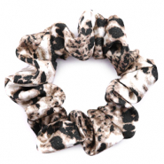 Scrunchie snake print hair tie Brown