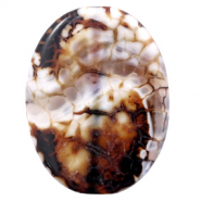 Semi-precious stones agate oval Multicolour Brown-White
