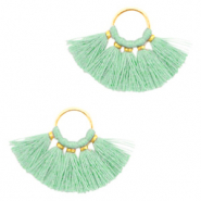 Tassels charm Gold-Light Turquoise Green