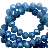 Top faceted beads 3x2mm disc Blue-Pearl Shine Coating