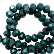 Top faceted beads 6x4mm disc Deep Green-Pearl Shine Coating