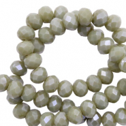 Top faceted beads 8x6mm disc Mosh Green-Pearl Shine Coating