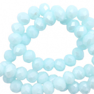 Top faceted beads 8x6mm disc Island Paradise Blue-Pearl Shine Coating