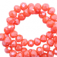 Top faceted beads 3x2mm disc Tigerlily Coral Red-Pearl Shine Coating