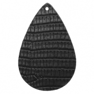 Faux leather pendants drop crocodile Black