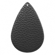Faux leather pendants drop Black