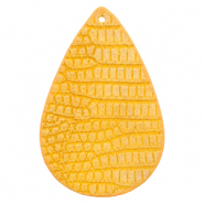 Faux leather pendants drop crocodile Warm Yellow
