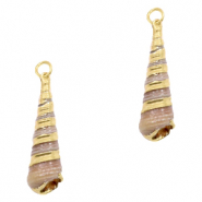 Shell pendant specials Horn Snail Creme Brown-Gold