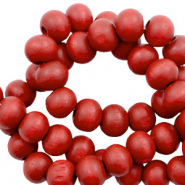 Wooden beads round 6mm Haute Red