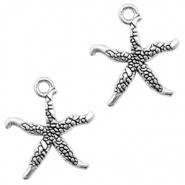 Metal charms seastar Antique Silver (nickel free)
