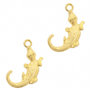 Metal charms crocodile Light Gold (nickel free)