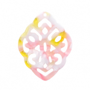 Resin pendants rhombus baroque Pink-Yellow
