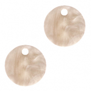 Resin pendants round 12mm Light Semolina Beige