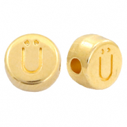 DQ European metal letter beads Ü Gold (nickel free)