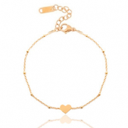 Stainless steel bracelets belcher chain heart ♥ Rose Gold