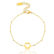 Stainless steel bracelets belcher chain cut out heart Gold