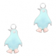 Metal charms penguin Silver-Light Blue Pink