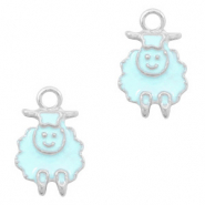 Metal charms sheep Silver-Light Blue